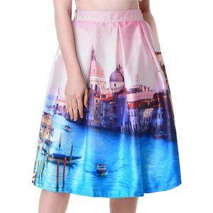 NWT CHICING Venice Print A-Line Satin Skirt